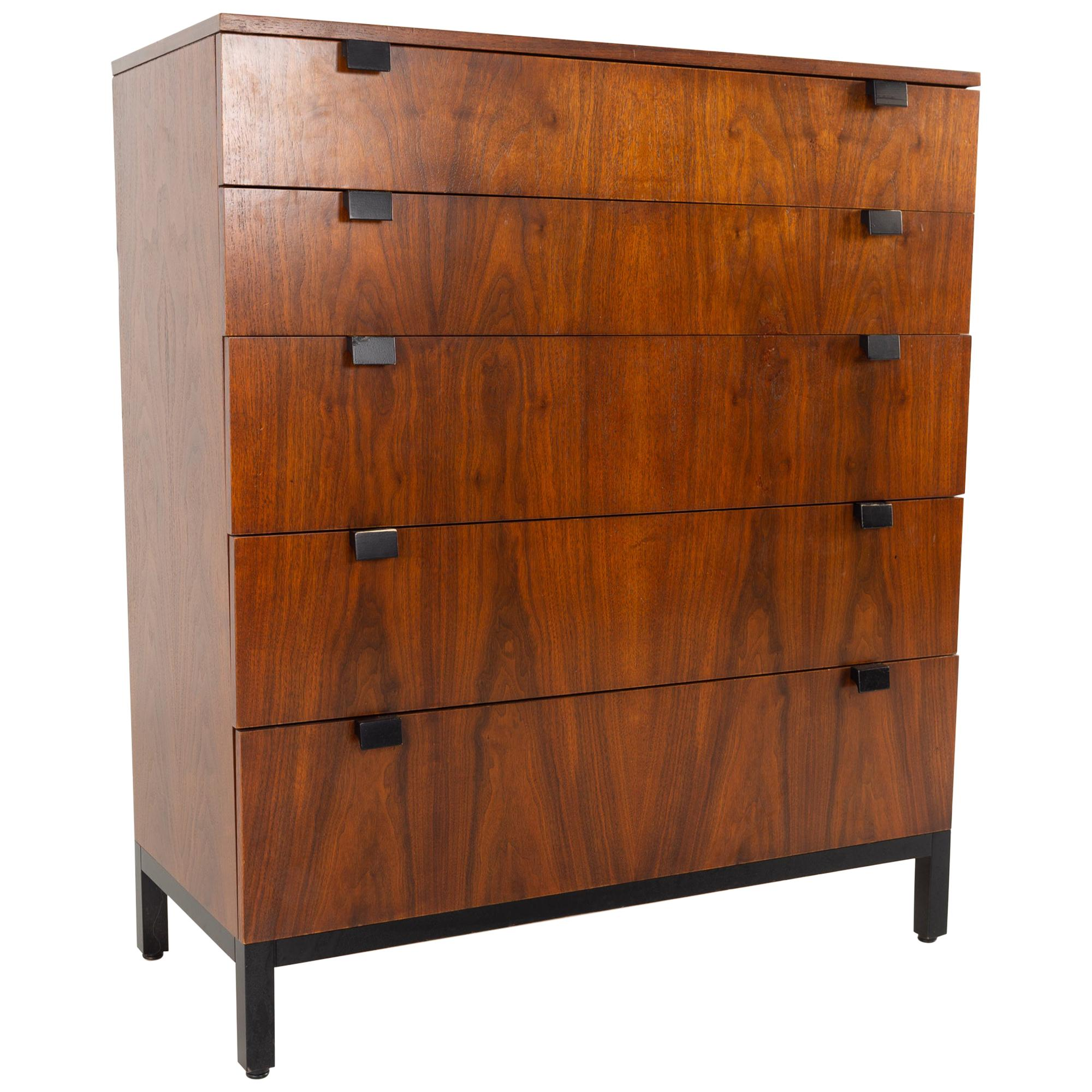 Milo Baughman for Directional Mid Century Walnut 5 Drawer Highboy Dresser