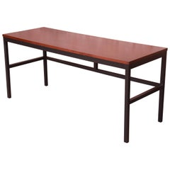 Milo Baughman for Directional Walnut and Black Lacquer Writing Desk, Refinished