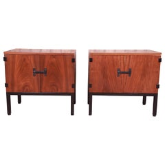 Milo Baughman for Directional Walnut and Ebonized Nightstands, Newly Refinished