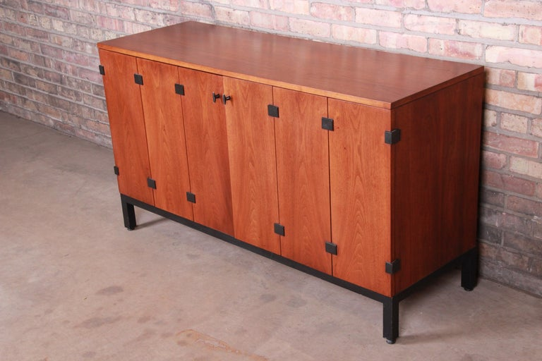 American Milo Baughman for Directional Walnut Sideboard Credenza, 1960s