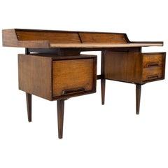 Milo Baughman for Drexel Mid Century Walnut Floating Double Sided Desk