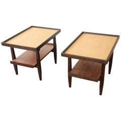Milo Baughman for Drexel Perspective Cork Top End Tables, Pair
