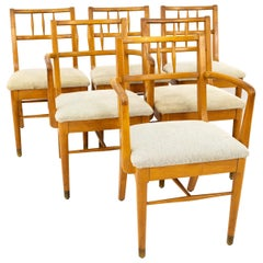 Milo Baughman for Drexel Todays Living Midcentury Blonde Dining Chairs, Set of 6
