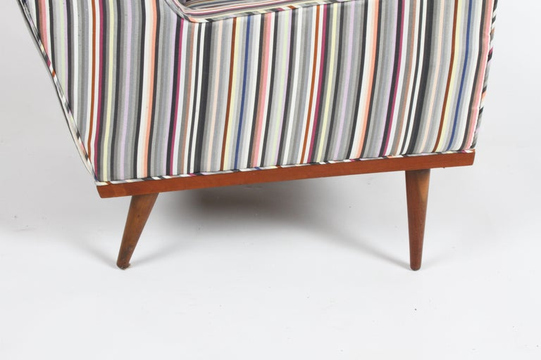 Milo Baughman for James Inc. Walnut with Stripe Lounge Chair For Sale 3