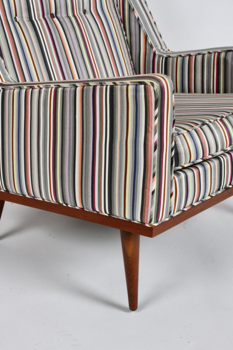 Milo Baughman for James Inc. Walnut with Stripe Lounge Chair For Sale 4