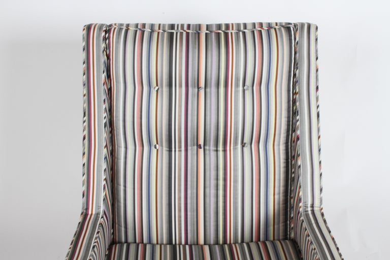 Milo Baughman for James Inc. Walnut with Stripe Lounge Chair For Sale 5