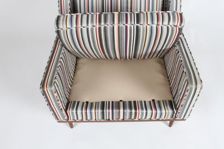 Milo Baughman for James Inc. Walnut with Stripe Lounge Chair For Sale 6