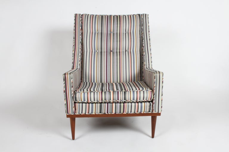 Mid-Century Modern Milo Baughman for James Inc. Walnut with Stripe Lounge Chair For Sale