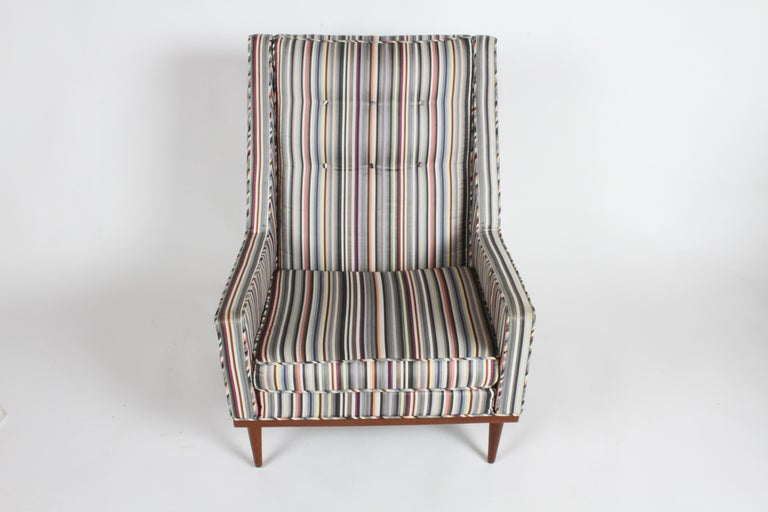 American Milo Baughman for James Inc. Walnut with Stripe Lounge Chair For Sale