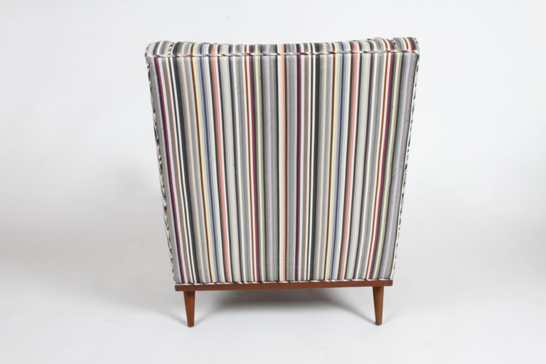 Milo Baughman for James Inc. Walnut with Stripe Lounge Chair In Good Condition For Sale In St. Louis, MO