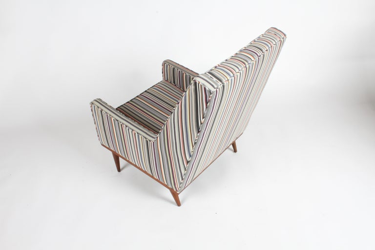Mid-20th Century Milo Baughman for James Inc. Walnut with Stripe Lounge Chair For Sale
