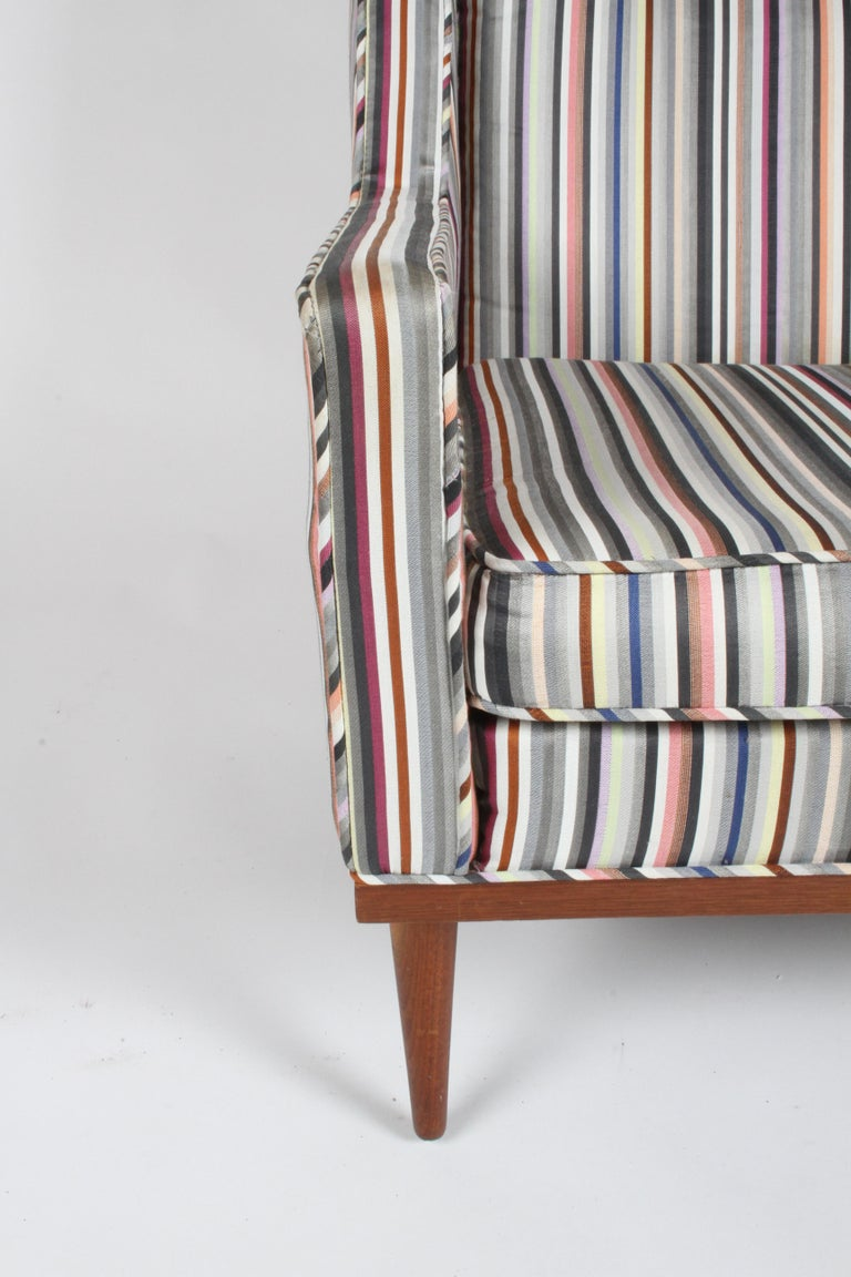 Upholstery Milo Baughman for James Inc. Walnut with Stripe Lounge Chair For Sale