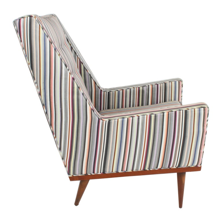 Milo Baughman for James Inc. Walnut with Stripe Lounge Chair For Sale