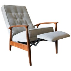 Milo Baughman for James, Inc. Sculpted Walnut Reclining Lounge Chair, circa 1955