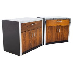 Milo Baughman for John Stuart MCM Rosewood and Chrome Nightstands, a Pair