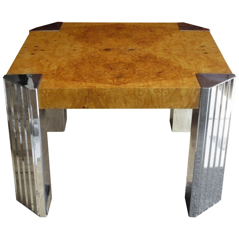 Milo Baughman for Pace Burl and Chrome End Table For Sale