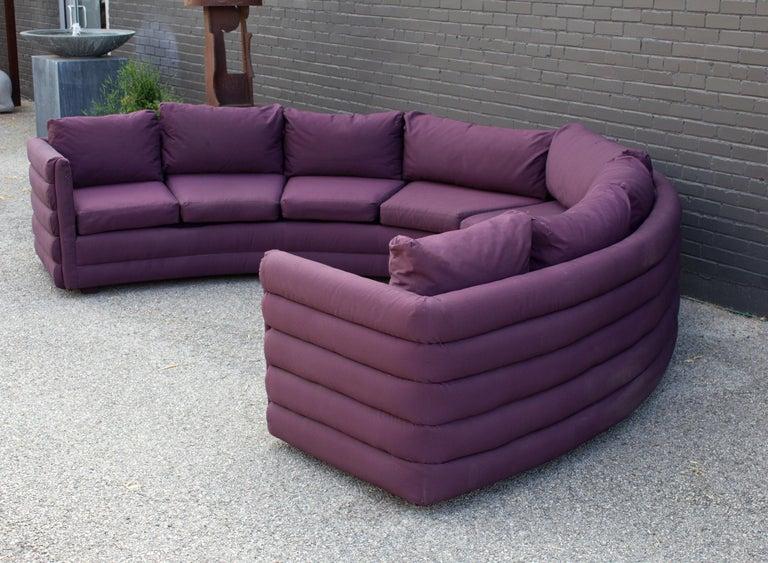 Milo Baughman For Thayer Coggin 1970s Channel Back Semi-Circular Sectional Sofa For Sale 3