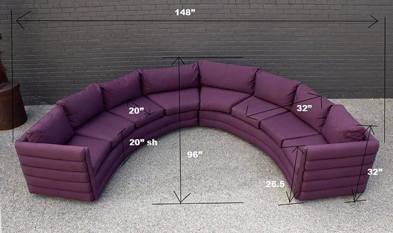 Milo Baughman For Thayer Coggin 1970s Channel Back Semi-Circular Sectional Sofa For Sale 4