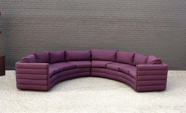 Mid-Century Modern Milo Baughman For Thayer Coggin 1970s Channel Back Semi-Circular Sectional Sofa For Sale