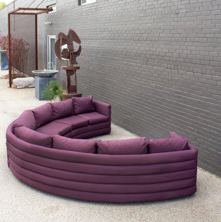 American Milo Baughman For Thayer Coggin 1970s Channel Back Semi-Circular Sectional Sofa For Sale