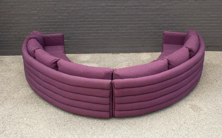 20th Century Milo Baughman For Thayer Coggin 1970s Channel Back Semi-Circular Sectional Sofa For Sale