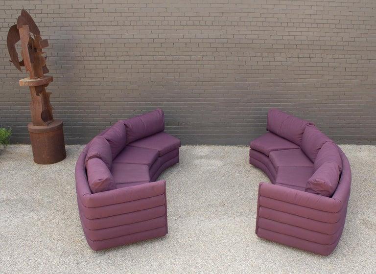 Fabric Milo Baughman For Thayer Coggin 1970s Channel Back Semi-Circular Sectional Sofa For Sale