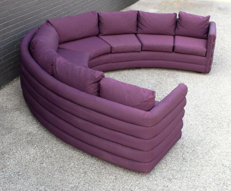 Milo Baughman For Thayer Coggin 1970s Channel Back Semi-Circular Sectional Sofa For Sale 1