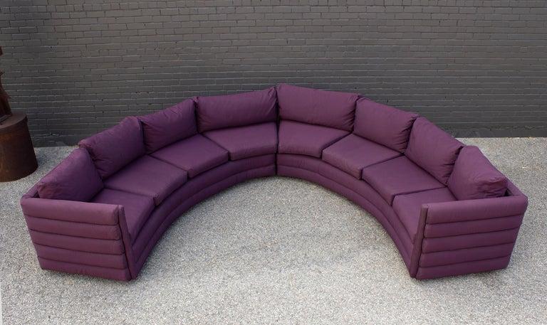 Milo Baughman For Thayer Coggin 1970s Channel Back Semi-Circular Sectional Sofa For Sale 2