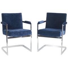 Milo Baughman for Thayer Coggin Armchairs in Chrome and Blue Velvet