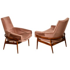 Milo Baughman for Thayer Coggin Attributed Barrel Back Lounge Chairs, c. 1960