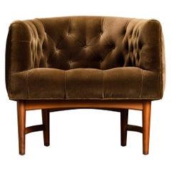 Milo Baughman for Thayer Coggin 'Betty' Tufted Velvet Barrel Chair, 1968, Signed