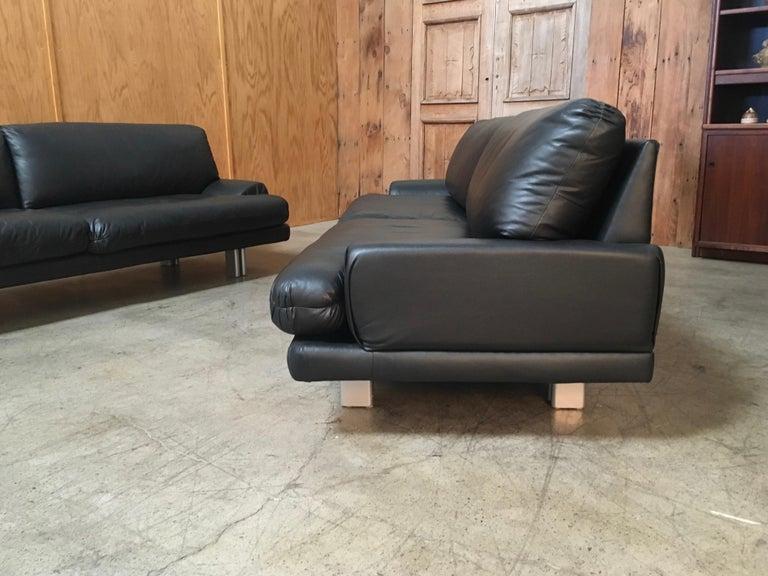 Milo Baughman for Thayer Coggin Black Leather Sofas a Pair For Sale 12