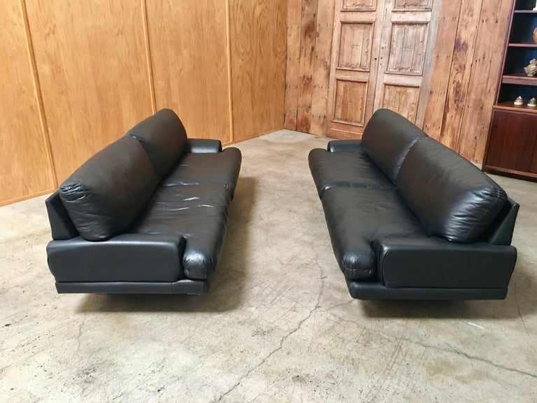 Modern Milo Baughman for Thayer Coggin Black Leather Sofas a Pair For Sale