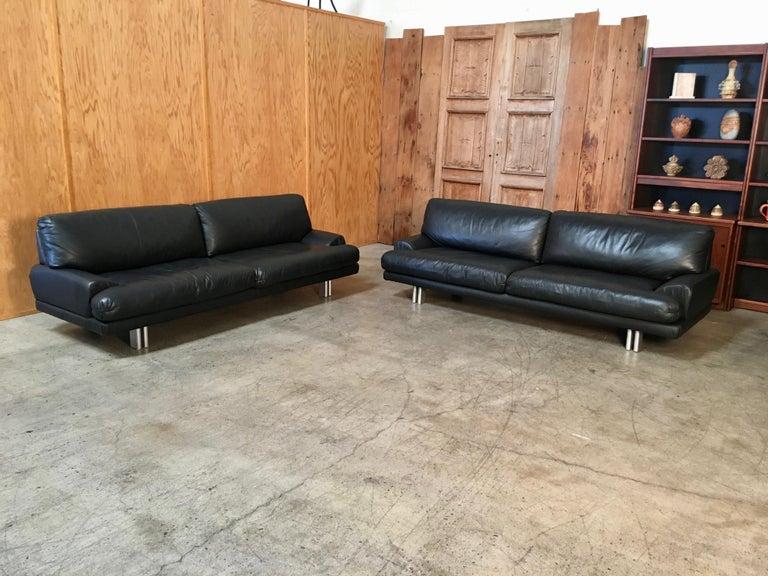 20th Century Milo Baughman for Thayer Coggin Black Leather Sofas a Pair For Sale