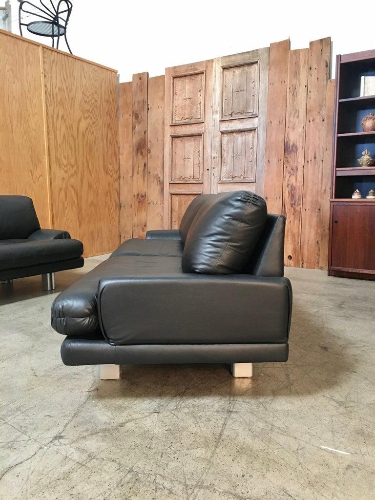 Milo Baughman for Thayer Coggin Black Leather Sofas a Pair For Sale 1