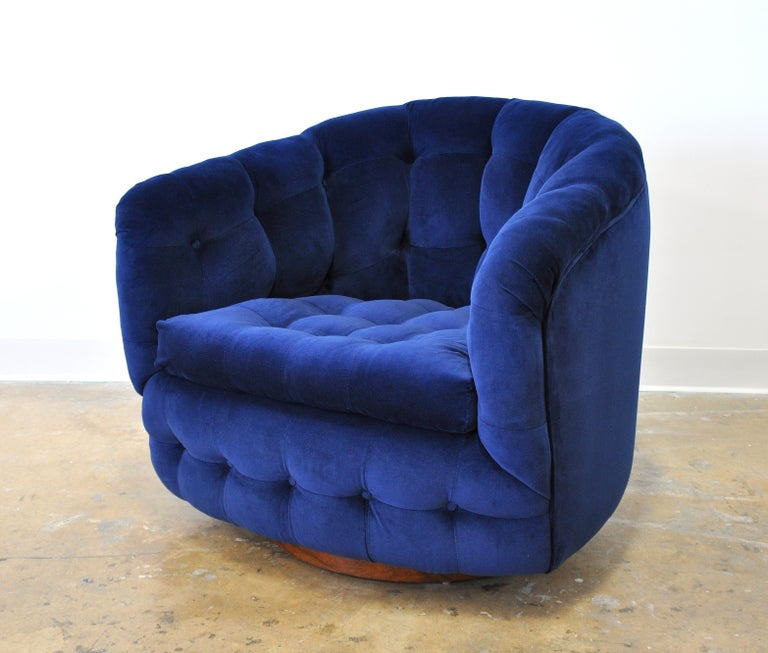 Milo Baughman for Thayer Coggin Blue Velvet Swivel Lounge Chair For Sale 9