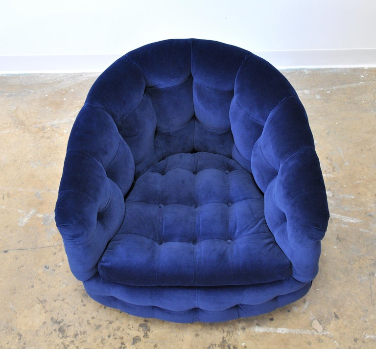 Milo Baughman for Thayer Coggin Blue Velvet Swivel Lounge Chair For Sale 2