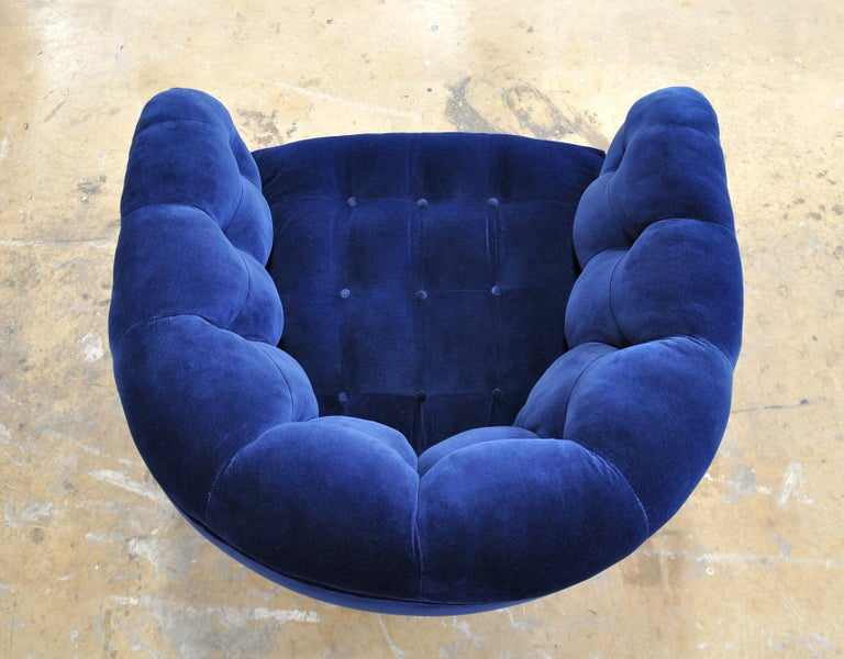 Milo Baughman for Thayer Coggin Blue Velvet Swivel Lounge Chair For Sale 3