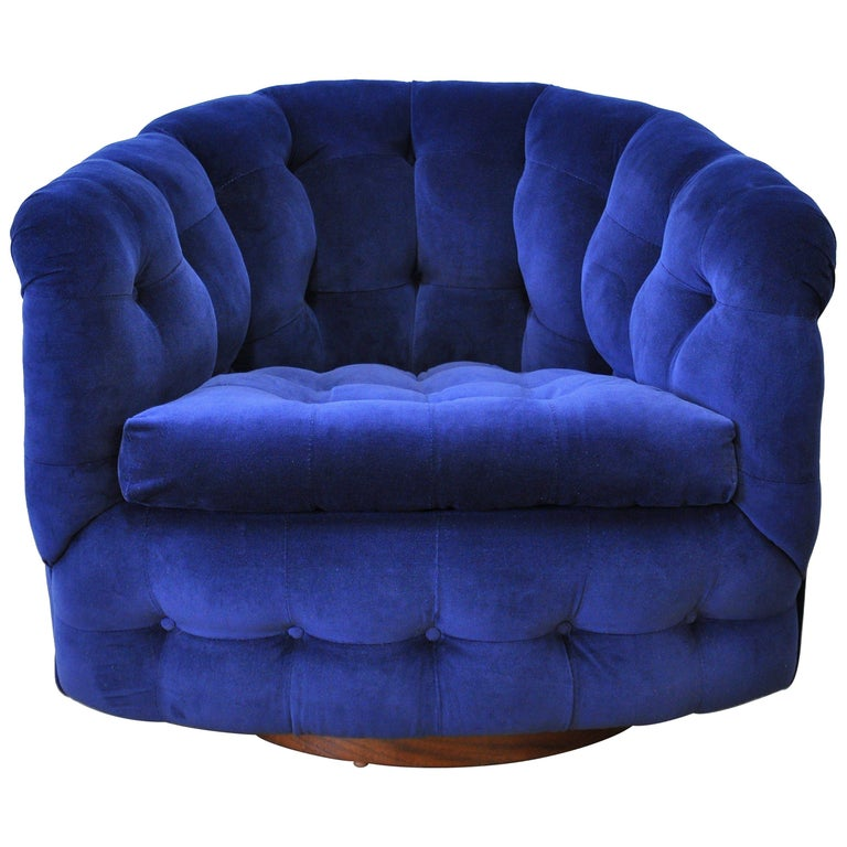 Milo Baughman for Thayer Coggin Blue Velvet Swivel Lounge Chair For Sale