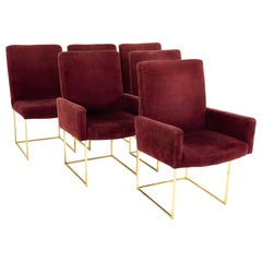 Milo Baughman for Thayer Coggin Brass & Velvet Thinline Dining Chairs, Set of 6