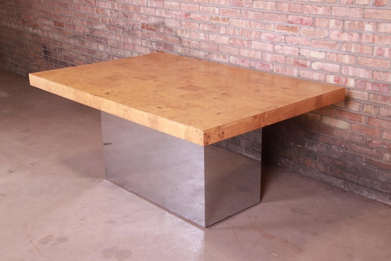 Milo Baughman for Thayer Coggin Burl Wood and Chrome Dining Table, Refinished For Sale 5