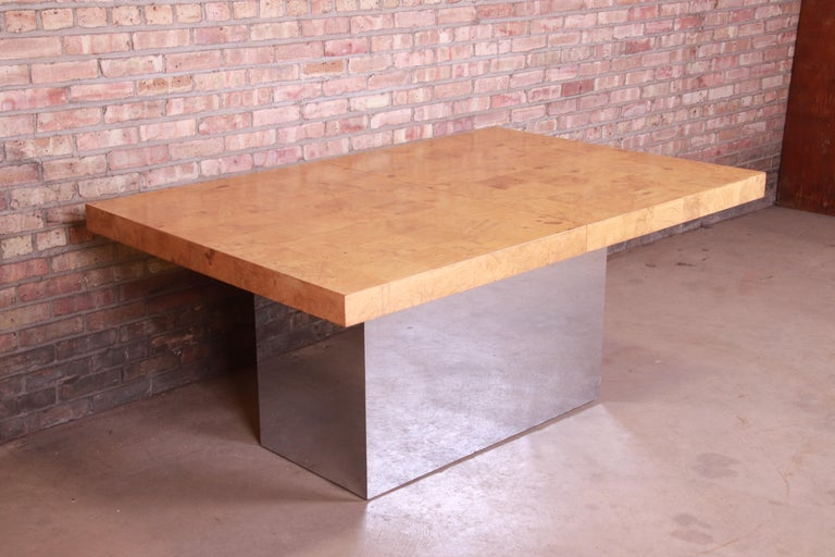 Milo Baughman for Thayer Coggin Burl Wood and Chrome Dining Table, Refinished For Sale 6