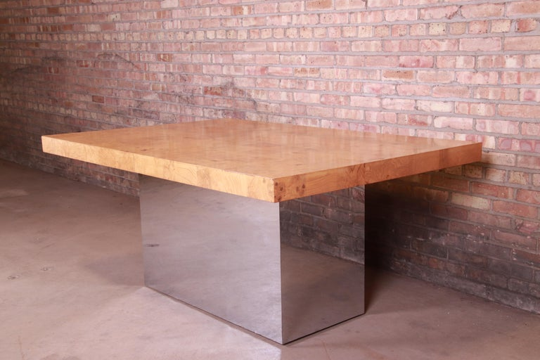 Milo Baughman for Thayer Coggin Burl Wood and Chrome Dining Table, Refinished For Sale 7