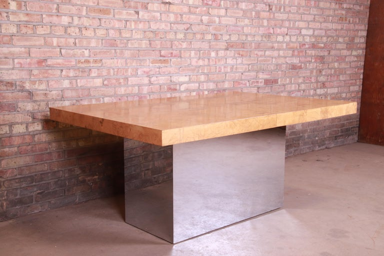 Milo Baughman for Thayer Coggin Burl Wood and Chrome Dining Table, Refinished For Sale 8