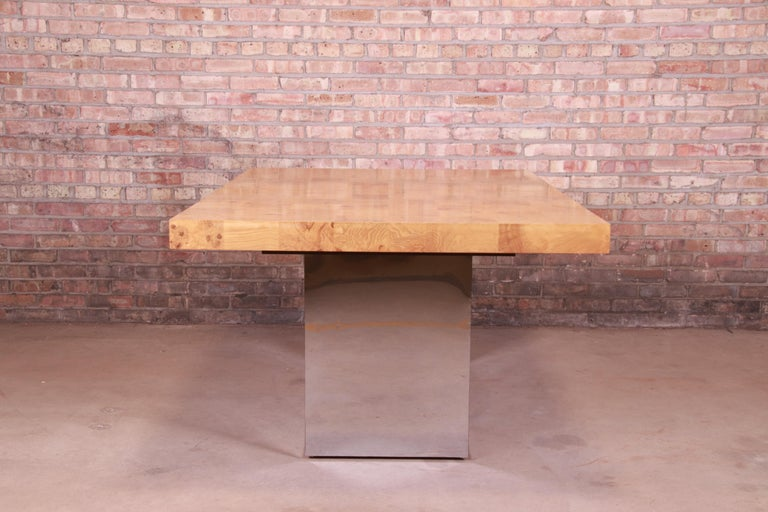 Milo Baughman for Thayer Coggin Burl Wood and Chrome Dining Table, Refinished For Sale 10