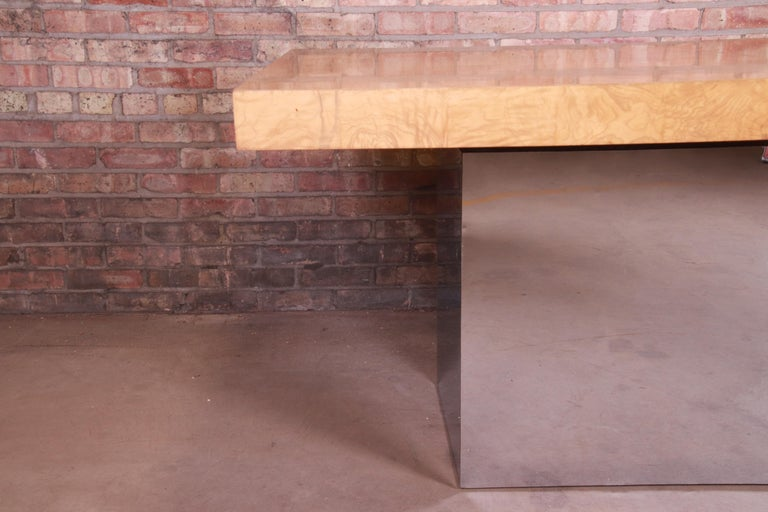 Milo Baughman for Thayer Coggin Burl Wood and Chrome Dining Table, Refinished For Sale 11