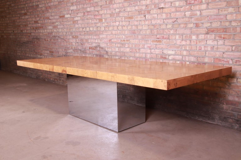 American Milo Baughman for Thayer Coggin Burl Wood and Chrome Dining Table, Refinished For Sale