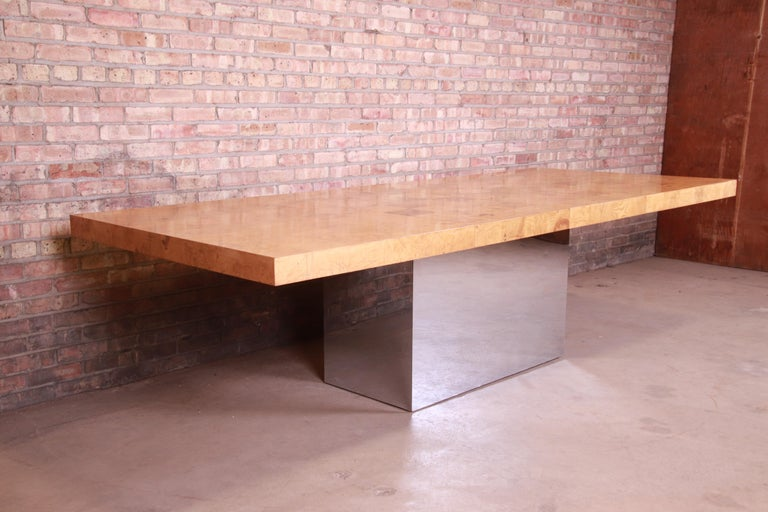 Milo Baughman for Thayer Coggin Burl Wood and Chrome Dining Table, Refinished In Good Condition For Sale In South Bend, IN