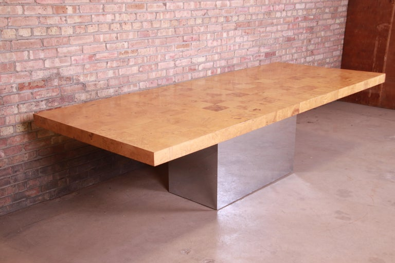 Late 20th Century Milo Baughman for Thayer Coggin Burl Wood and Chrome Dining Table, Refinished For Sale