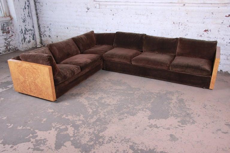 Mid-Century Modern Milo Baughman for Thayer Coggin Burl Wood Case Sectional Sofa, 1970s For Sale